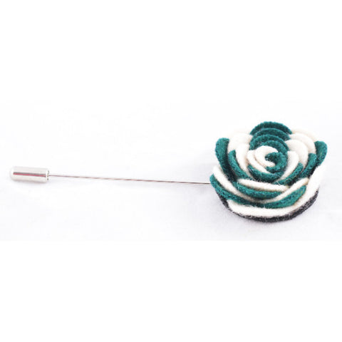 Green & White Flower Lapel Pin