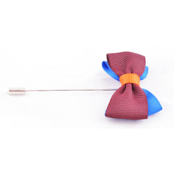 Maroon & Blue Bow Lapel Pin
