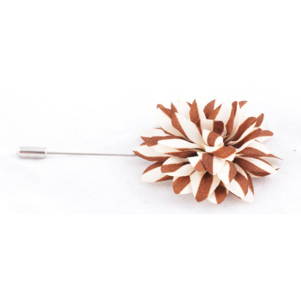 Brown & White Stripes Lapel Pin