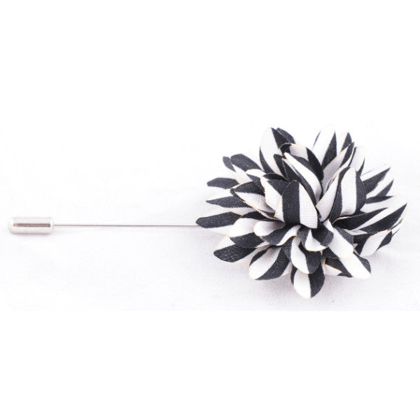 Black & White Stripes Lapel Pin Life In Slow Motion