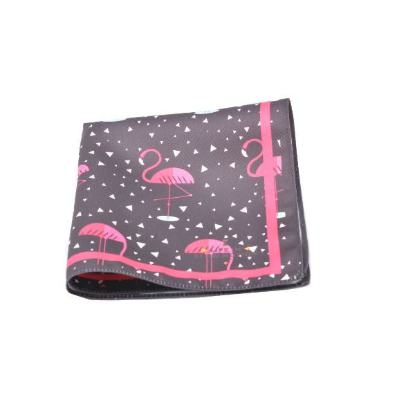 Black Flamingos Silk Pocket Square Life In Slow Motion