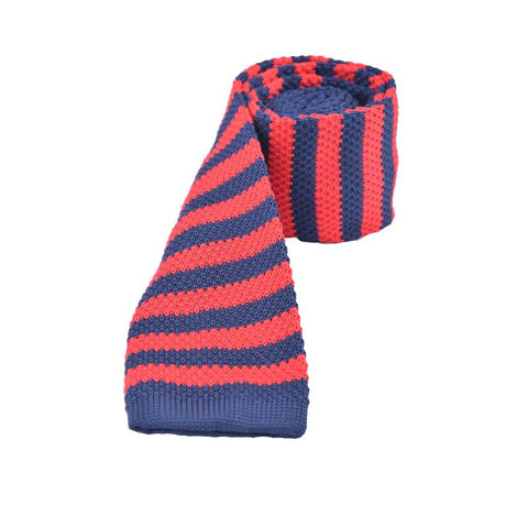 Blue & Red Stripes Knitted Tie - Lifeinslowmotion