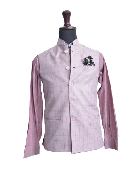Pink Checks Nehru Jacket