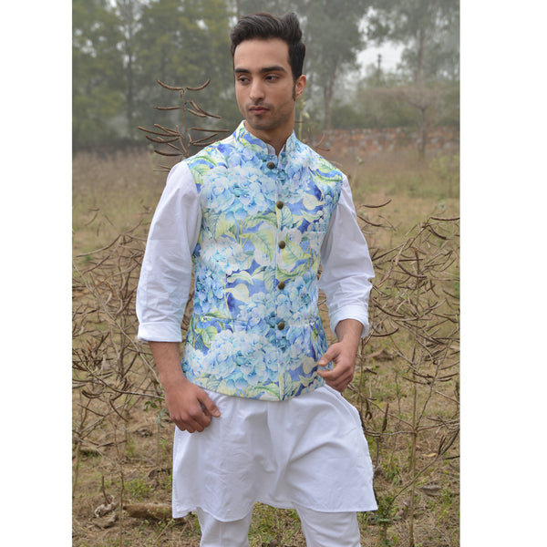 Blue Floral Nehru Jacket
