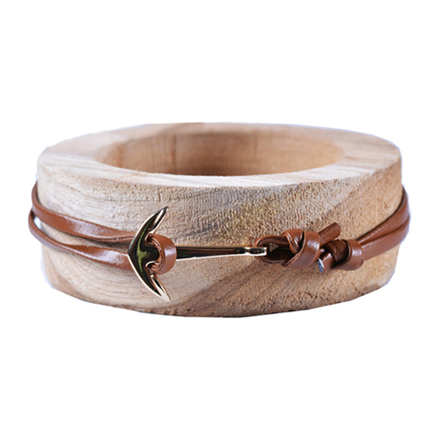 Light Brown Leather Anchor Bracelet - Lifeinslowmotion