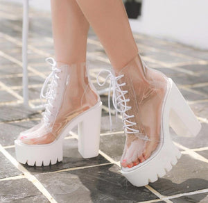Transparent Platform High Heel Boots