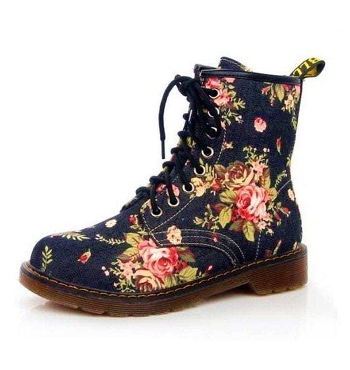 Beautiful Flower Combat Boots