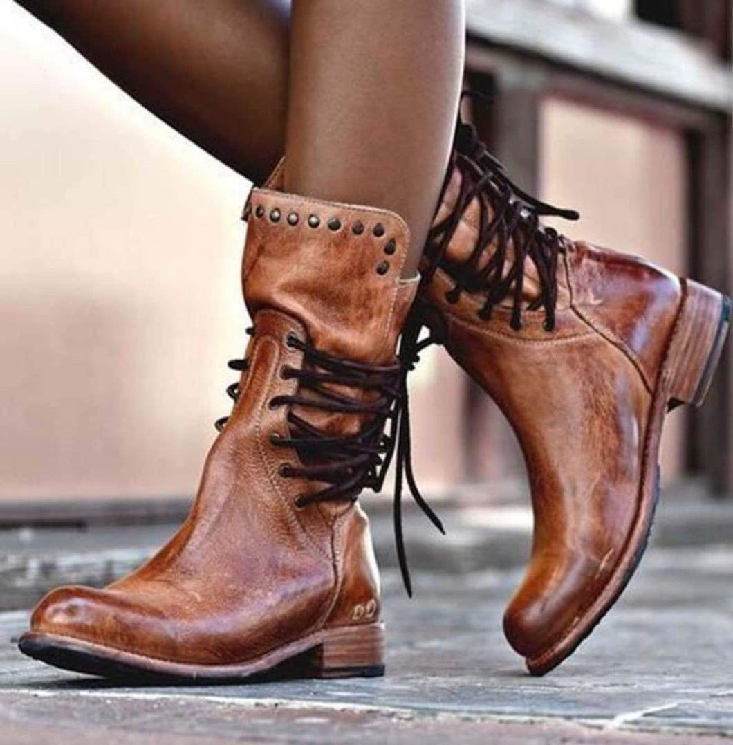 Vintage Mid Calf Riding Style Boots