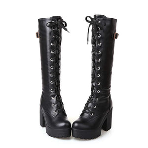 Tall and Thick High Heel Women Boots (black)