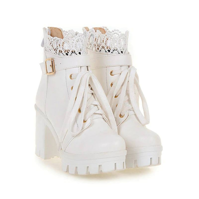 Stylish Lace High Heel Boots (white)