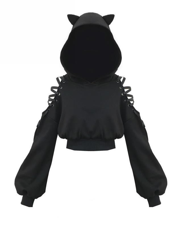 Harajuku Cold Shoulder Cat Hoody