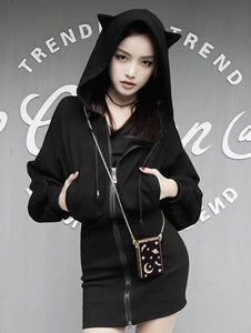 Harajuku Dark Cat Ear Hoody