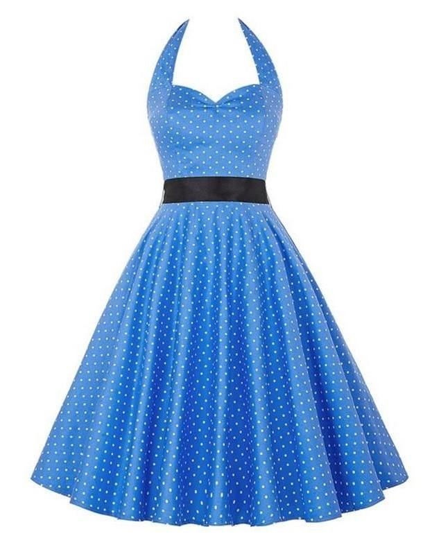 Retro Halter Flare Dress (blue)