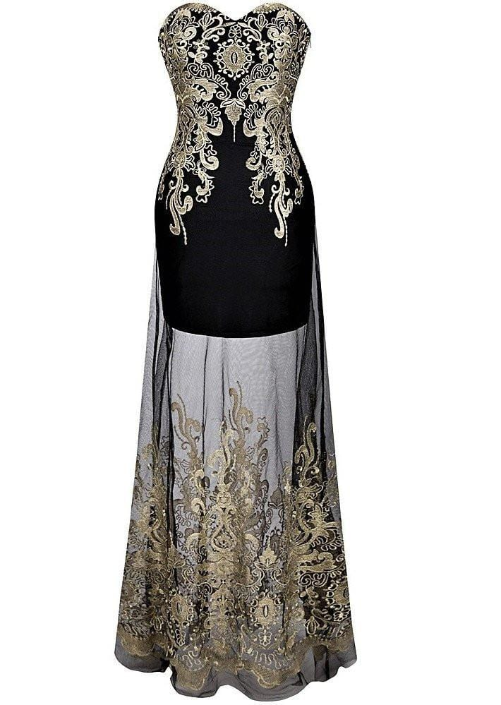 Retro 1920s Strapless Embroidery Dress