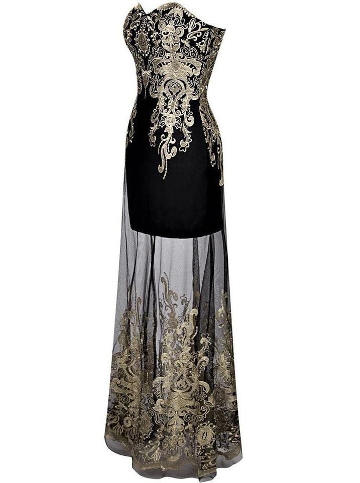 Vintage Strapless Embroidery Evening Dress