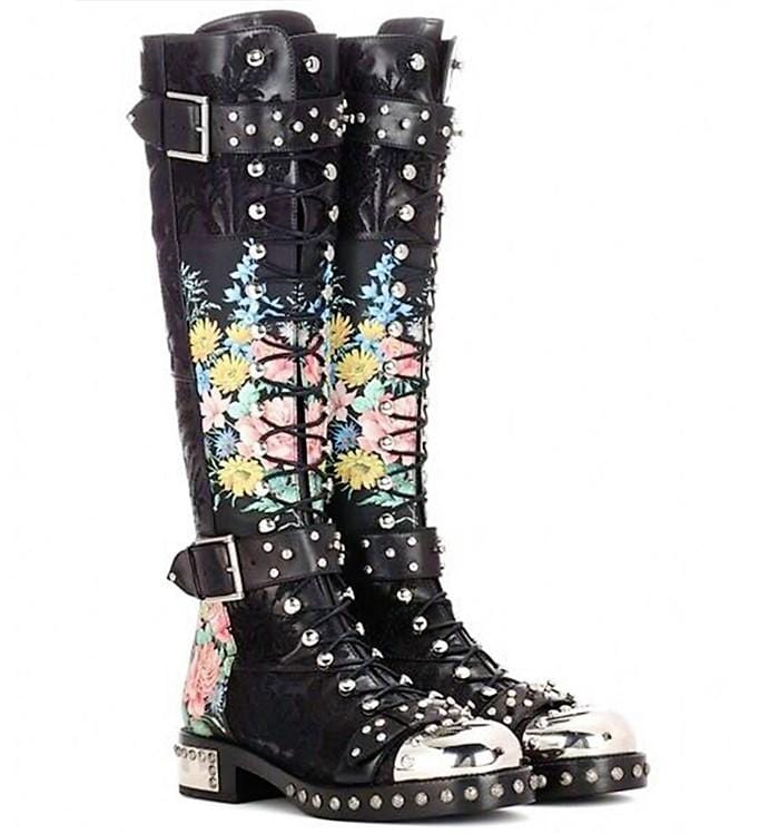 High Chunky Army Combat Boots (Floral)