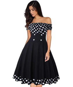 Vestido Polka Dot Off shoulder Dress