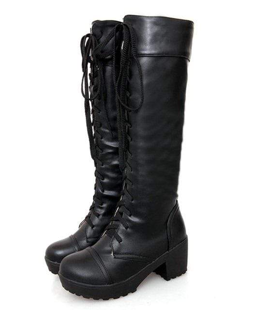 Black Knee High Gothic Boots
