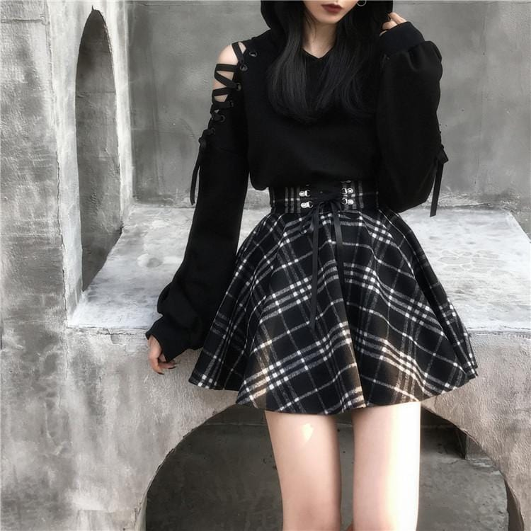 Harajuku Lace Up Plaid Skirt
