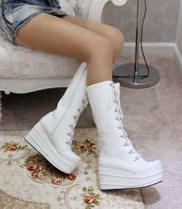 Thick Style Knee High Heel Platform Boots