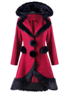 Hooded Fur Jacket Coat Back Lace Up