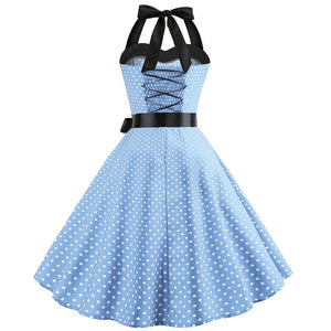 Retro Halter Flare Dress (light blue)