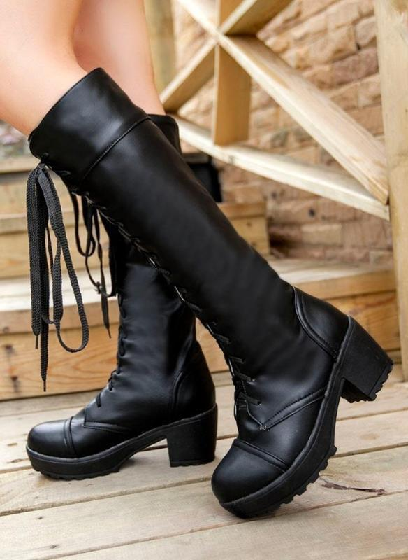 Black Knee High Deadly Boots