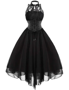 Vintage Black Sleeveless Swing Dress