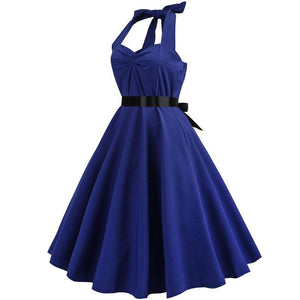 Retro Halter Flare Dress (purple)