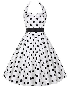 Retro Halter Flare Dress (polka wht)