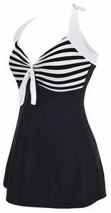 Halter Skirt Swimsuit (black stripe)