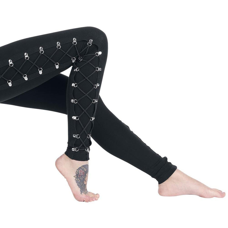 Dark Style Lace-up Leggings