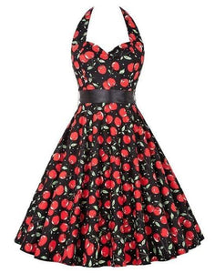 Retro Halter Flare Dress (cherries)