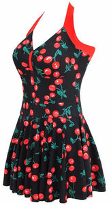 Halter Skirt Swimsuit (cherry)
