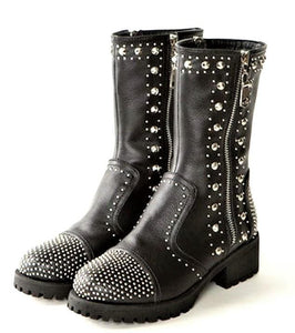 Lady's Studded Leather Boots
