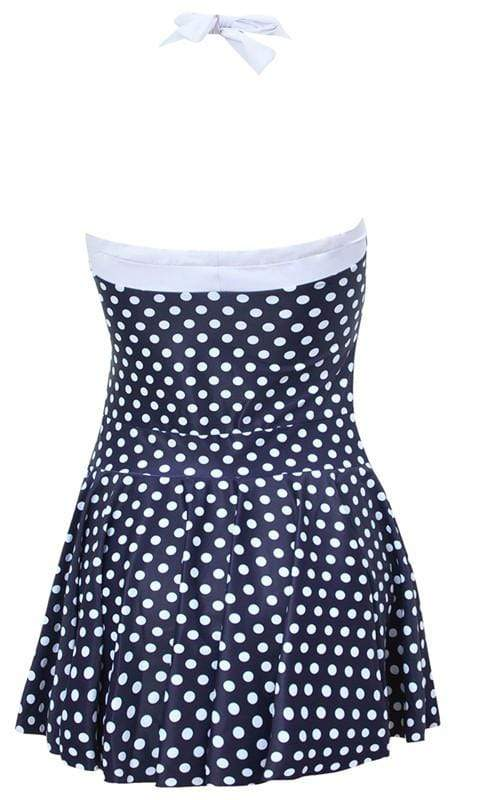 Halter Skirt Swimsuit (Blue White)