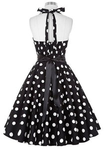 Retro Halter Flare Dress (polka blk)