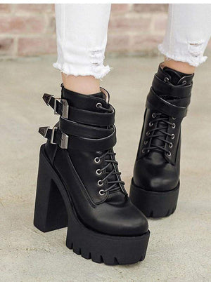 Double Buckle Platform High Heels