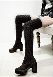Thigh High Knitting Wool Boots