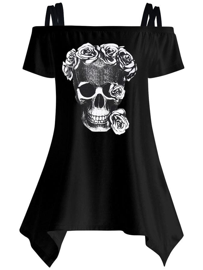 Cold Shoulder Skull Blouse