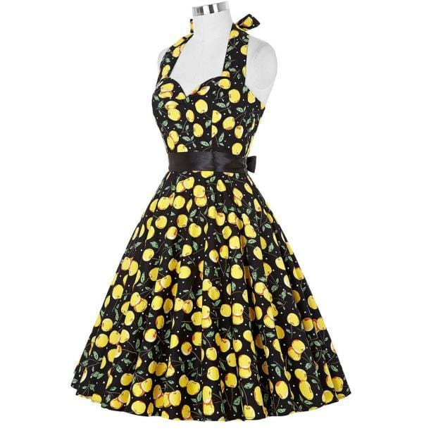 Retro Halter Flare Dress (yellow)