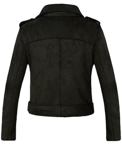 Ladys Suede Leather Rosetic Coat