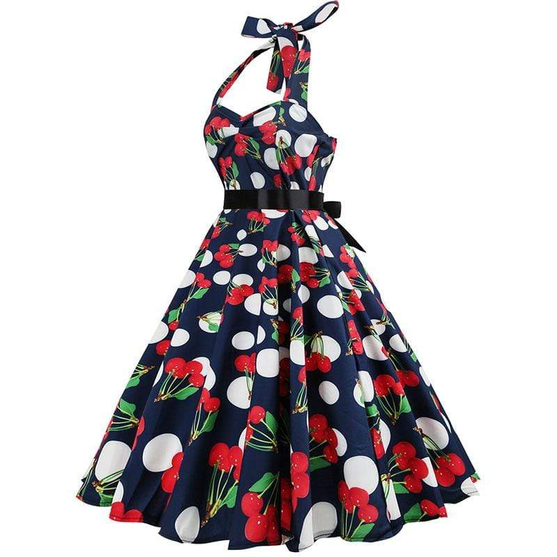 Retro Halter Flare Dress (cherry)