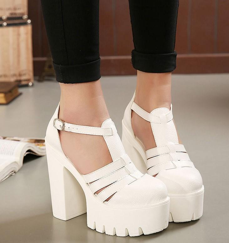 High Platform Square Heel Sandals