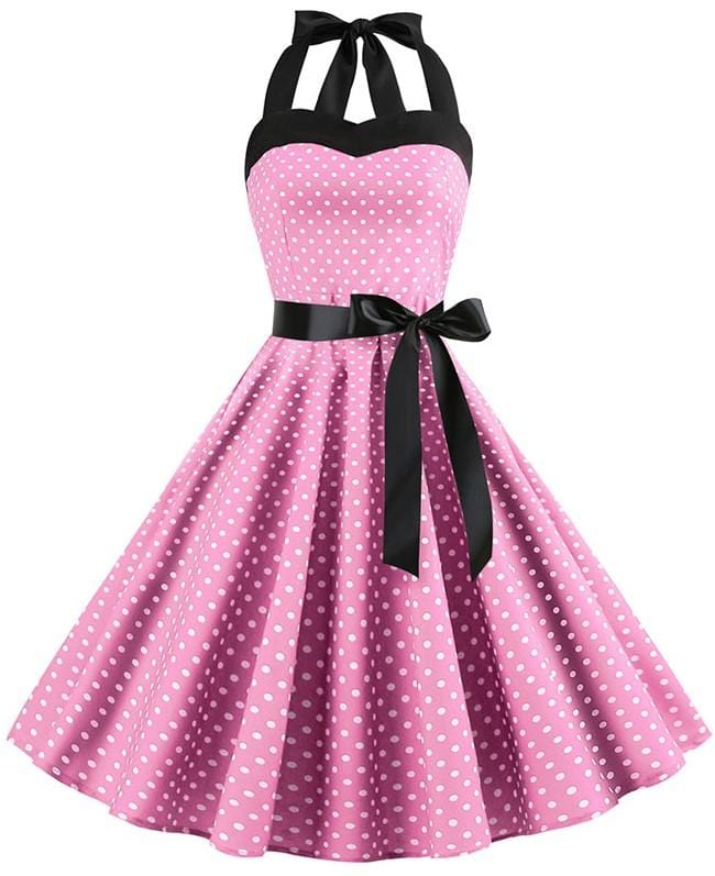 Retro Halter Flare Dress (pink)