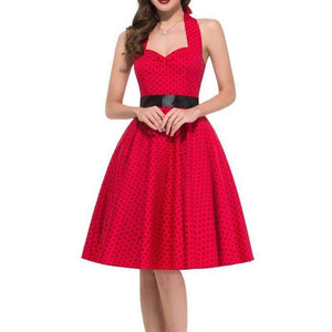 Retro Halter Flare Dress (red)