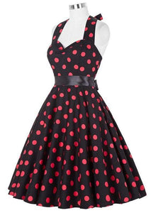Retro Halter Flare Dress (polka red)