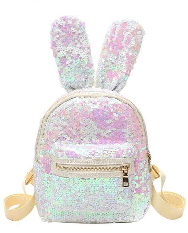 Rabbit Ear Sequins Backpack (white)