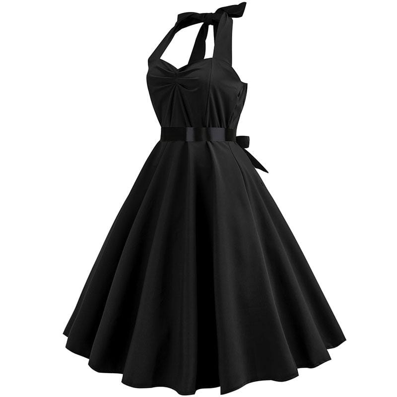Retro Halter Flare Dress (black)