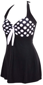 Halter Skirt Swimsuit (black dot)